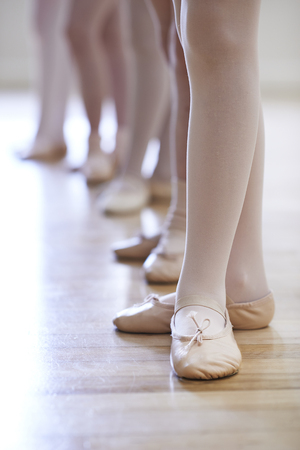 ballet child: Close Up Of Feet In Childrens Ballet Dancing Class