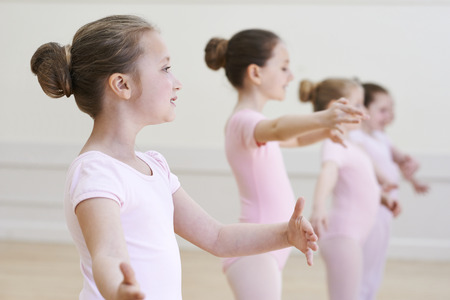 8 10 years: Group Of Young Girls In Ballet Dancing Class