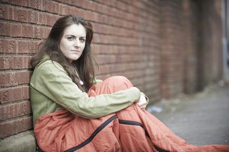 vulnerable: Vulnerable Teenage Girl Sleeping On The Street