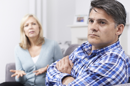 arguement: Mature Couple Having Arguement At Home