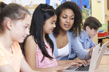 Estudiantes de ayuda del Grupo de Primaria los alumnos en clase del ordenador
