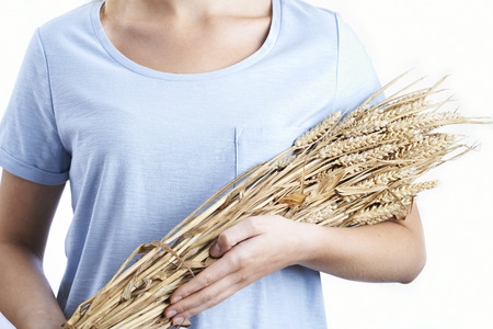 holding close: Close Up Of Woman Holding Bundle Of Wheat Stock Photo