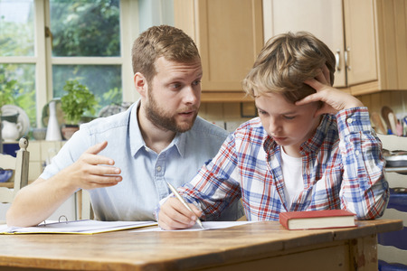 Male Home Tutor Helping Boy With Studies