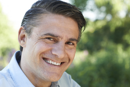 mature man: Outdoor Head And Shoulders Portrait Of Smiling Mature Man