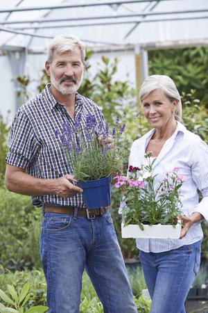 garden center: Mature Couple Choosing Plants At Garden Center