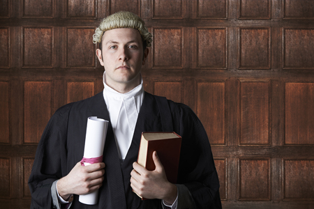 slander: Portrait Of Lawyer In Court Holding Brief And Book