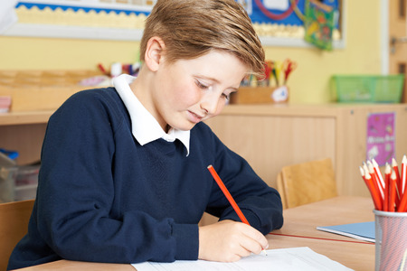 the pupil: Male Elementary School Pupil Working At Desk Stock Photo