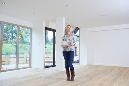 home loan: Woman Looking At Details For Property She Hopes To Buy