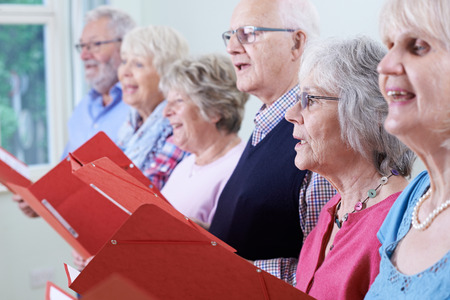 church people: Group Of Seniors Singing In Choir Together