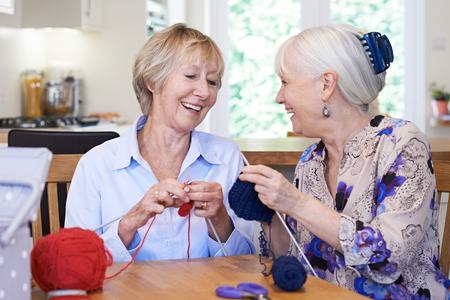Dos amigos femeninos mayores que hacen punto en el país junto Foto de archivo