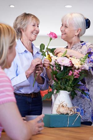 Women Meeting At Flower Arranging Class