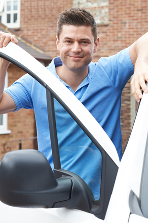 Outdoor Portrait Of Driver With Van Banque d'images