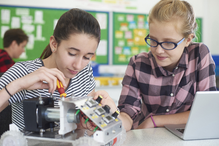 Female Pupils In Science Lesson Studying Robotics