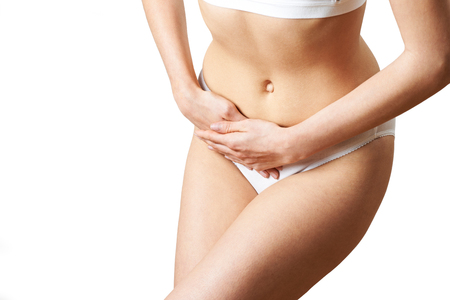 Closer Up Of Woman Wearing Underwear Suffering From Bladder Problem Stock Photo