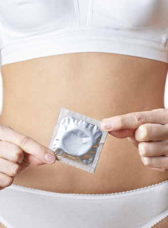 Close Up Of Woman In Underwear Holding Condom