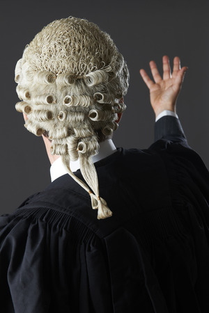 Rear View Of Barrister Making Speech In Court