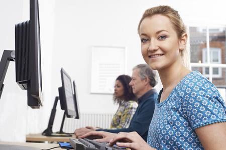 Portrait Of Woman Attending Computer Class Stock fotó
