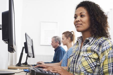 Young Woman Attending Computer Class Stock fotó