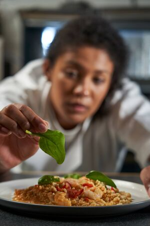 Female Chef Garnishing Plate Of Food In Professional Kitchen Imagens
