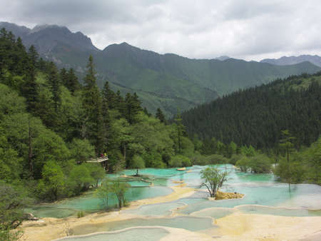 Huanglong blue calcification pond Banco de Imagens