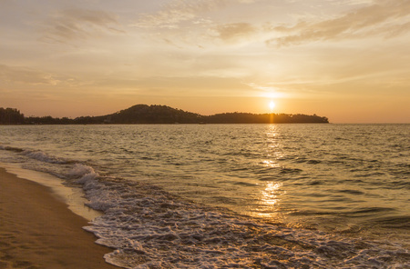 tao: Sunset at bang Tao beach in Thailand Stock Photo