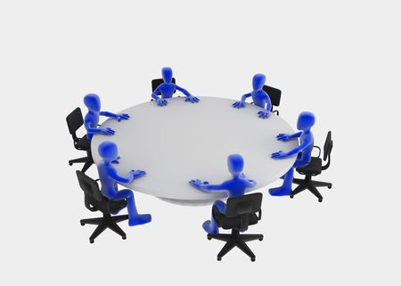 Six 3d figures sitting at a round table, blue over white background