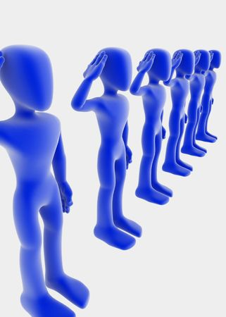 salute: 3d figures standing straight in a line saluting, blue over white background
