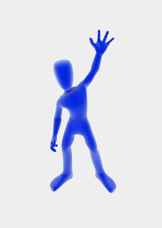 farewell: Standing 3d figure with hand raised in a farewell gesture, blue over white background