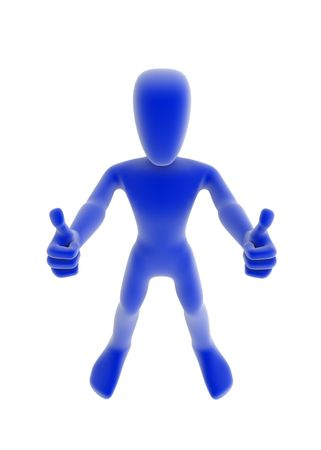 opt: 3d character holding both thumbs up, blue over white background Stock Photo