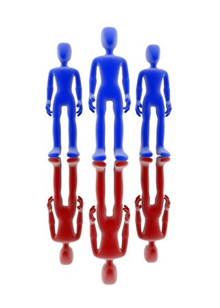 similarity: Three blue and three red 3d figures over white background