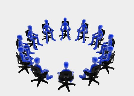 Twelve 3d figures sitting in a circle, blue over white background