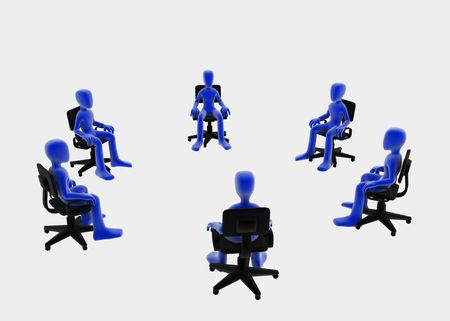 multiple choice: Six 3d figures sitting in a circle, blue over white background