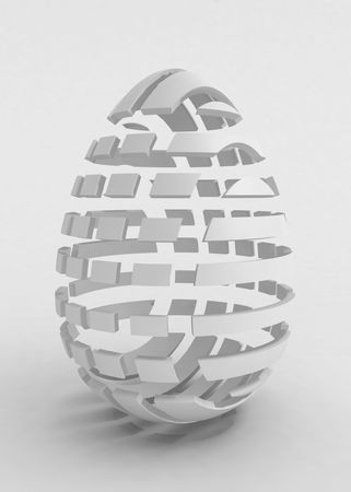 tojáshéj: 3d rendering of an egg shell cut into pieces, vertical, white surface