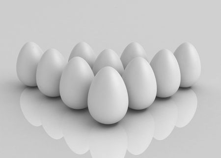 alike: 3d rendering of multiple egg shapes forming a triangle, horizontal, reflective surface Stock Photo