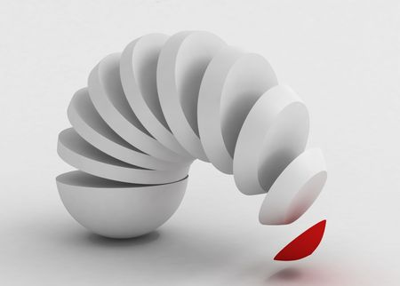 detach: 3d rendering of egg shape slices forming an arc,horizontal , white surface
