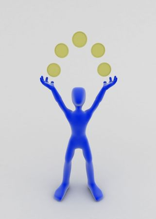A blue 3d figure with 5 coins in an arc above it, standing, vertical