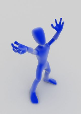 recite: A blue 3d figure in an actors pose, vertical, white surface
