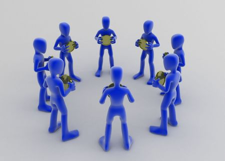inwards: 8 blue 3d figures in a circle, each holding a coin and facing inwards Stock Photo