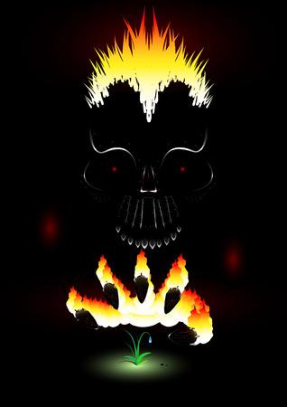Vector metal scull in darkness Stock Vector - 2619091