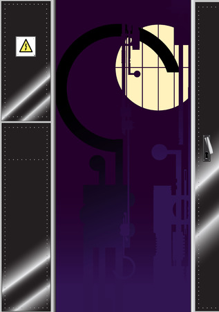lifeless: A metal door opening to a room with mechanical shapes visible in the darkness Illustration