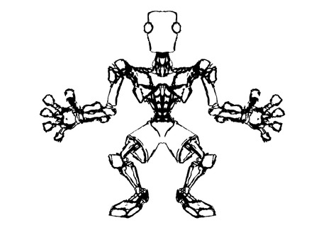 steady: Sketch of a robotic figure standing in the pose of a goalkeeper, vector