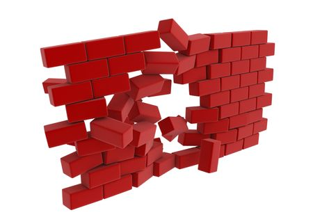 breaking in: 3d block wall breaking in the middle
