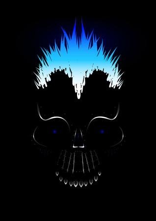 Vector metal skull in darkness Vector