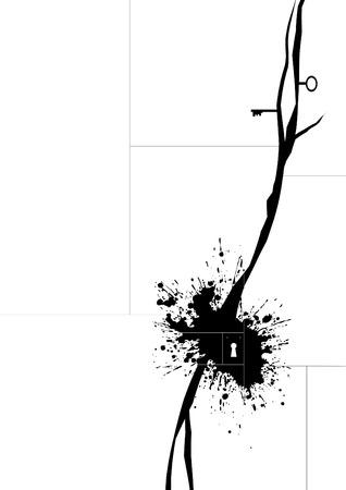 splotches: Vector grunge keyhole design, vertical Illustration