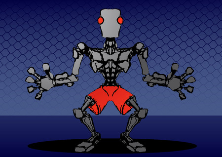 Robotic figure standing in the pose of a goalkeeper, vector Vector