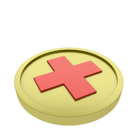 3d coin with a red cross photo