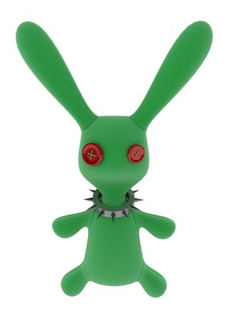 irony: Green stuffed 3d rabbit with a metal collar