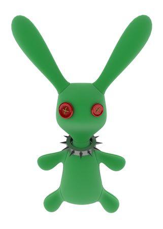 Green stuffed 3d rabbit with a metal collar