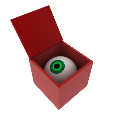 fearing: A 3d eyeball in an opening red box