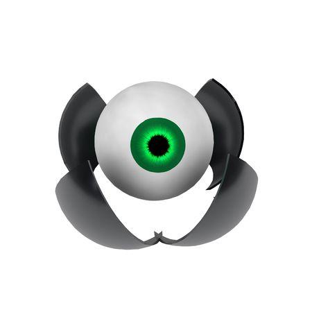 3d cg: Opening metal shell containing an eyeball